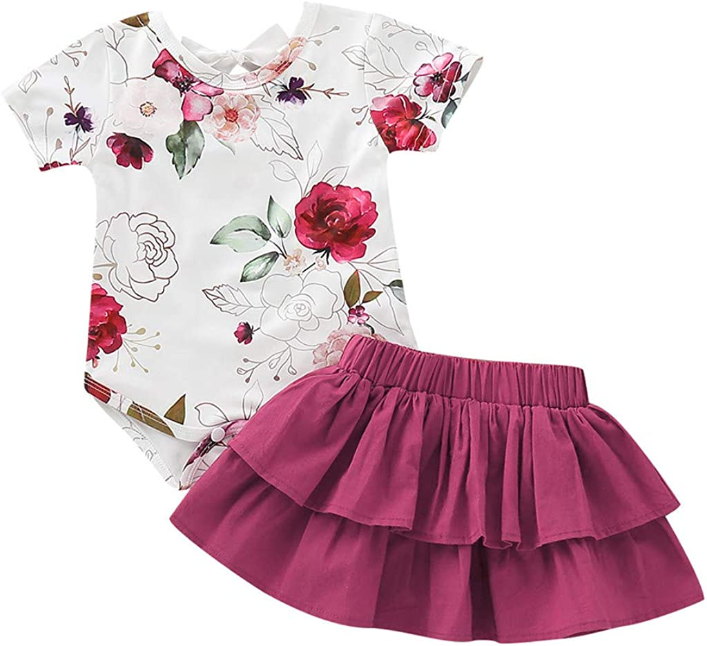 WOCACHI Toddler Baby Girls Clothes Newborn Toddler Infant Baby Girls Floral Print Romper Ruffles Skirt Outfits Set