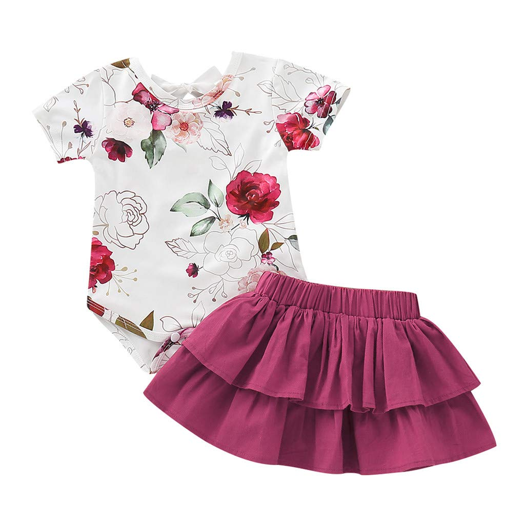Vovotrade Newborn Kids Baby Girls Cute Floral Print Romper Tops +Ruffles Skirt Outfits Set (3M, Wine)