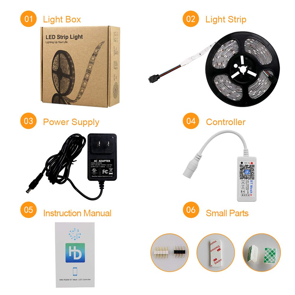 HaoDeng Smart Bluetooth LED Strip Lights Kit,16.4ft 5050 150 LED RGBW Strip Lights Kit for Home and Party