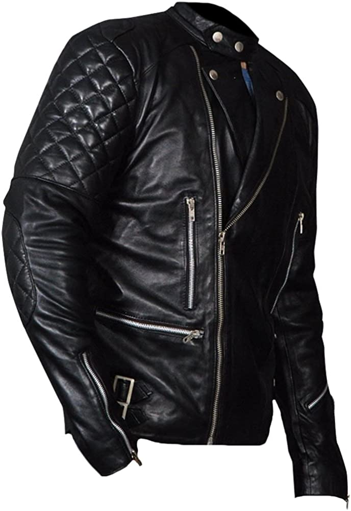 Classyak Mens Fashion Real Leather Brando Style Biker Jacket