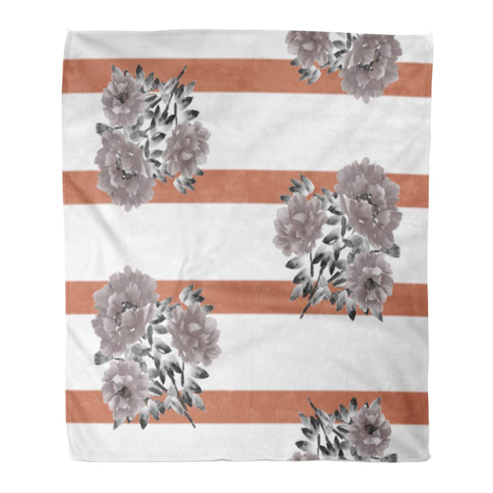 Multi 8 60\ Emvency Throw Blanket Warm Cozy Print Flannel Brown Pattern of Beige Flowers Peony on Deep Red Stripes Watercolor colorful Comfortable Soft for Bed Sofa and Couch 60x80 Inches