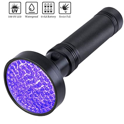longdafei Linterna UV, 100 LED 395 nm Ultraviolet Blacklight Pet Detector de Orina para Orina