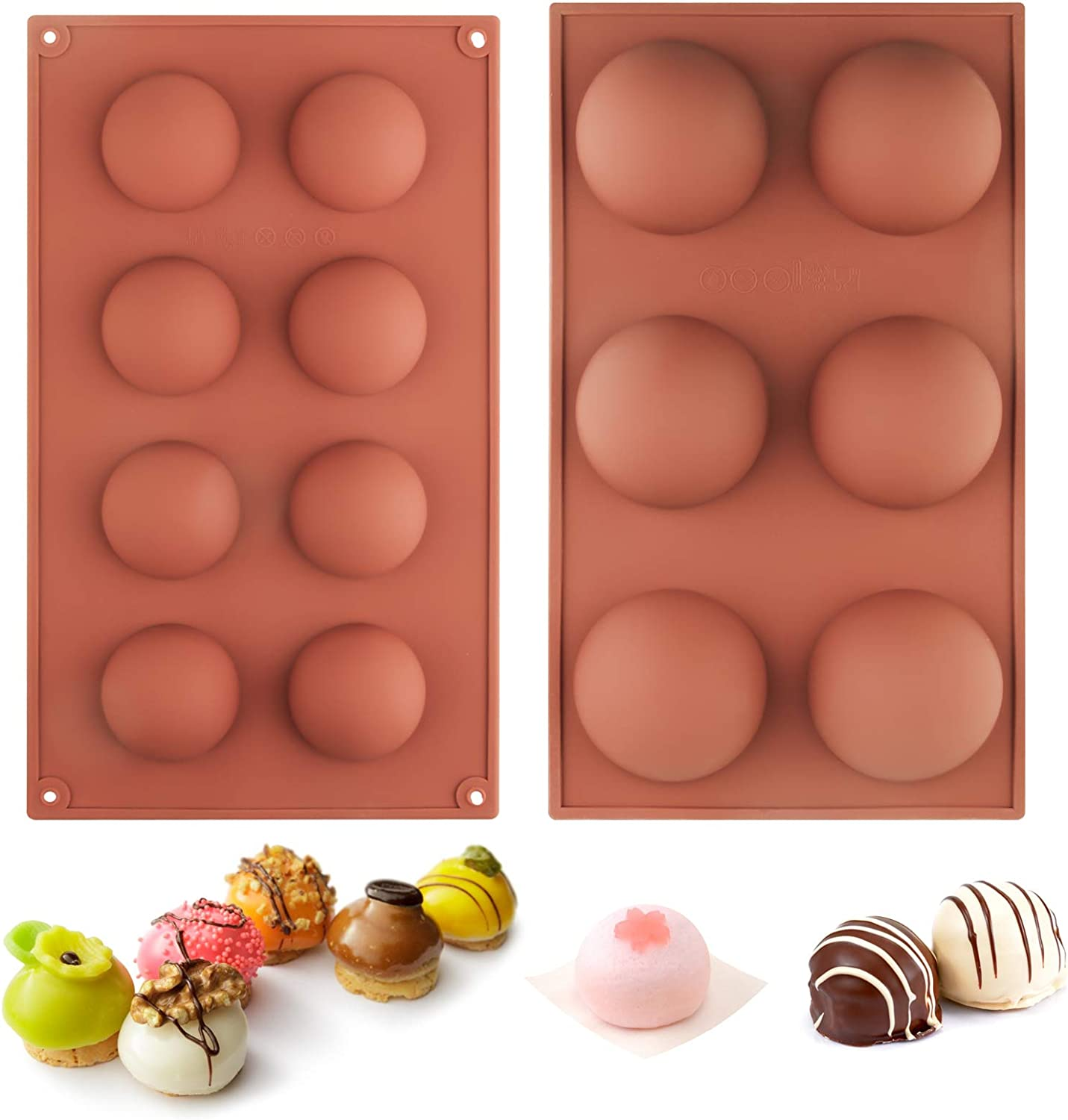 6 Holes Half And 8 Holes Half Ball Sphere Silicone Circle Pastry & Baking Tray Mold For DIY Baking,Cupcake,Chocolate, Jelly, Pudding, Handmade Soap,Mousse, Bakeware Kitchen Tools (2 Pc Brown)