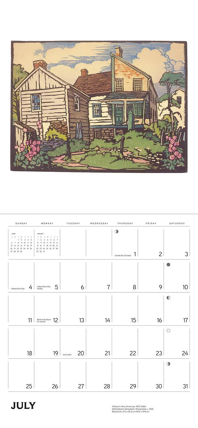 W Rice 2019 Calendar Calendar – Wall Calendar S July 15 Arts /& Crafts Block Prints 2018 William S Rice Pomegranate 0764980599 Art // Fine Arts
