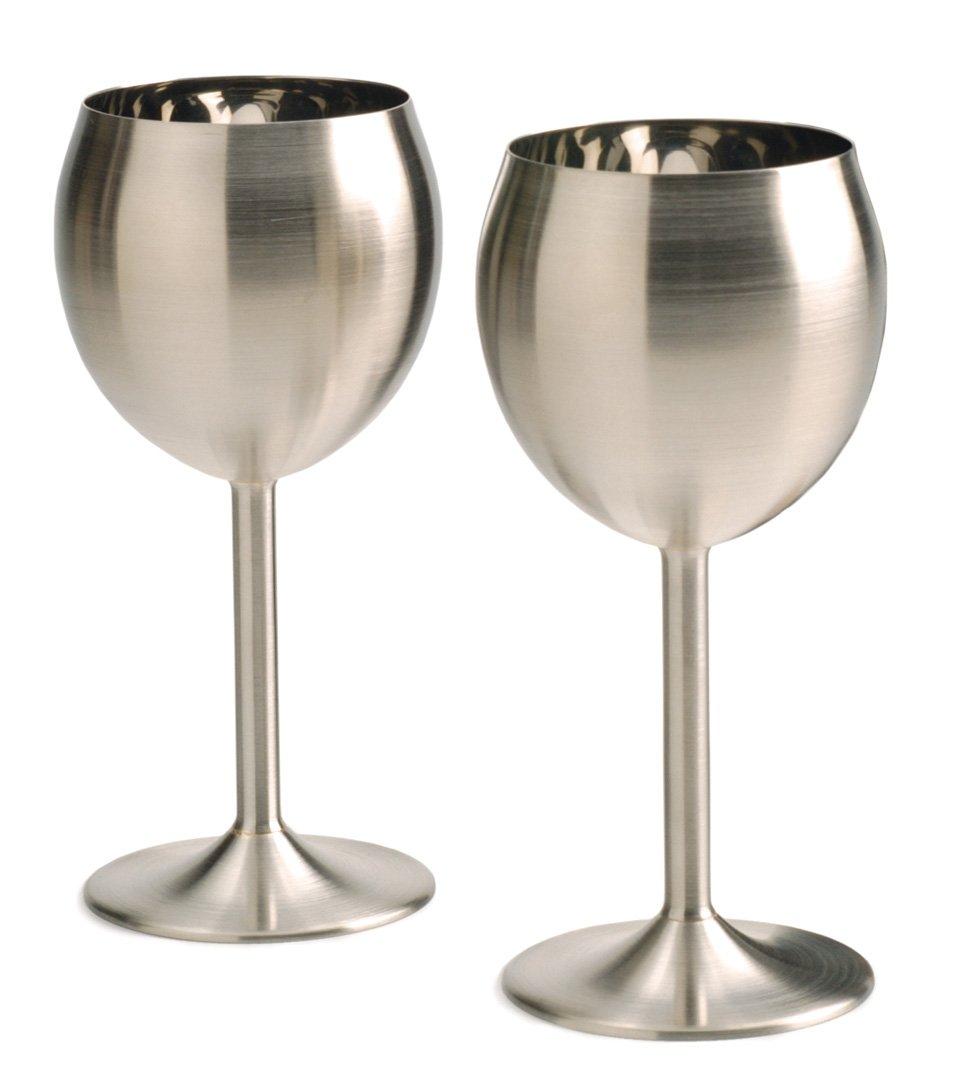 Set of 2 WINE-2 Wine Glasses RSVP Endurance Stainless Steel Drinkware
