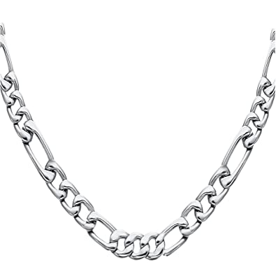 0f0516a71d02d FIBO STEEL Stainless Steel Mens Womens Necklace Figaro Chain 5-9mm Wide,  18-30 inches