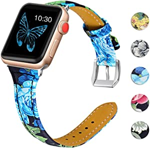 OULUCCI Leather Bands Compatible Apple Watch 38mm 40mm Slim Replacement Wristband Sport Strap for Iwatch SE Nike+ Series 6 5 4 3 2 1 Edition Metal Stainless Steel Buckle Clasp