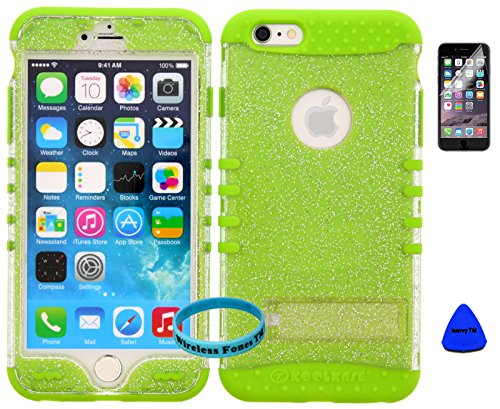 iPhone 6s Case, Wireless Fones TM Heavy Duty Hybrid Kickstand Cover Case Clear Glitter Snap On Over Lime Green Skin [ Wireless Fones TM Wristband, Pry Tool and Screen Protector Included ]
