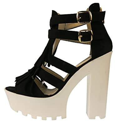 1e5c39df74d Womens Ladies Block Chunky High Heel Open Toe Platform Tassel Ankle Strap  Faxu Suede Sandals  Amazon.co.uk  Shoes   Bags