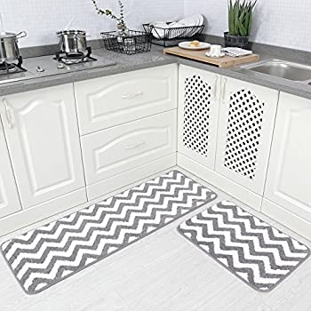 Carvapet 2 Pieces Microfiber Chevron Non Slip Soft Kitchen Mat Bath Rug  Doormat Runner Carpet