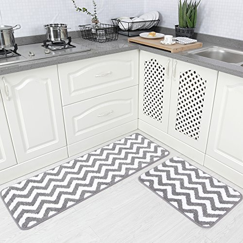 Carvapet 2 Pieces Microfiber Chevron Non-Slip Soft Kitchen Mat Bath Rug Doormat Runner Carpet Set, 17