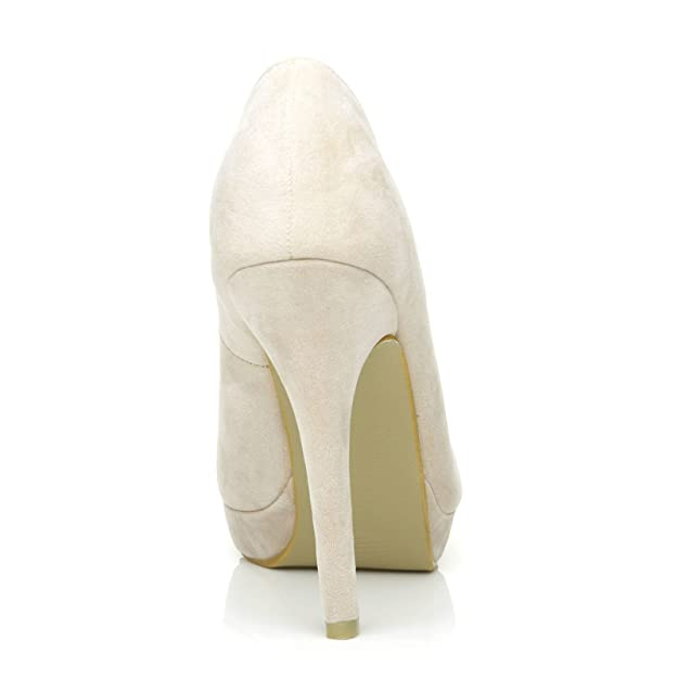 b6b273501792 EVE Nude Faux Suede Stiletto High Heel Platform Court Shoes: Amazon.co.uk:  Shoes & Bags