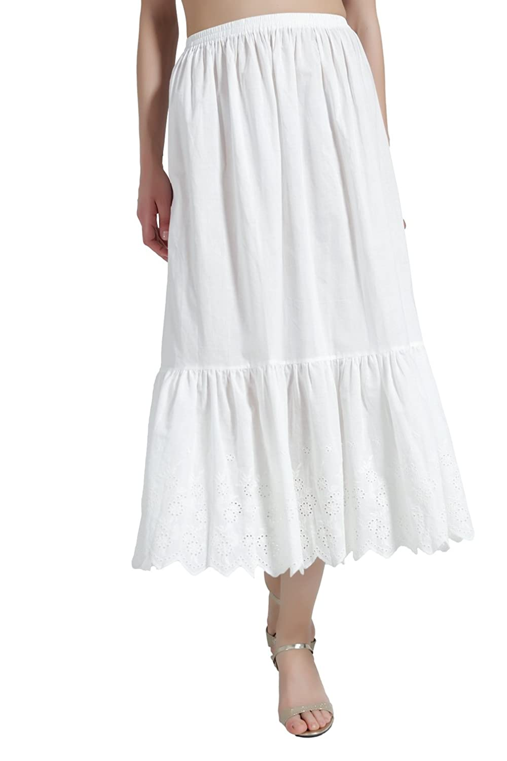 BEAUTELICATE Half Slip Underskirt for Women 100% Cotton Petticoat with Lace Embroidery Ivory 70CM 80CM Length Size S M L