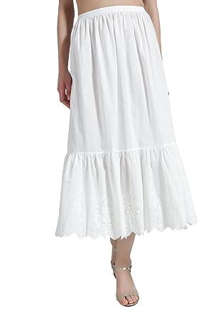 fa095b68995 BEAUTELICATE Femme Jupon Lingerie sous-Jupe Robe Longue Coton Dentelle  Broderie Blanc Ivoire Mi-