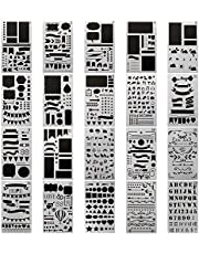 20 PCS Journal Stencil Plastic Planner Set for Journal/Notebook/Diary/Scrapbook DIY Drawing Template Journal Stencils 4x7 Inch