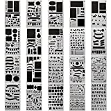 #10: 20 PCS Bullet Journal Stencil Plastic Planner Set for Journal/Notebook/Diary/Scrapbook DIY Drawing Template Journal Stencils 4x7 inch