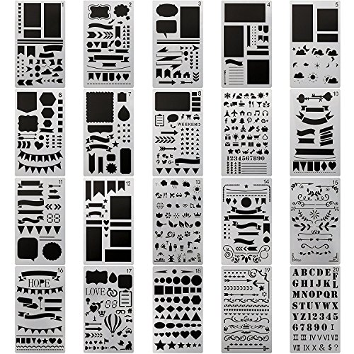 20 PCS Journal Stencil Plastic Planner Set for Journal Notebook Diary Scrapbook DIY Drawing Template Journal Stencils 4x7 Inch (4 Page Layout)