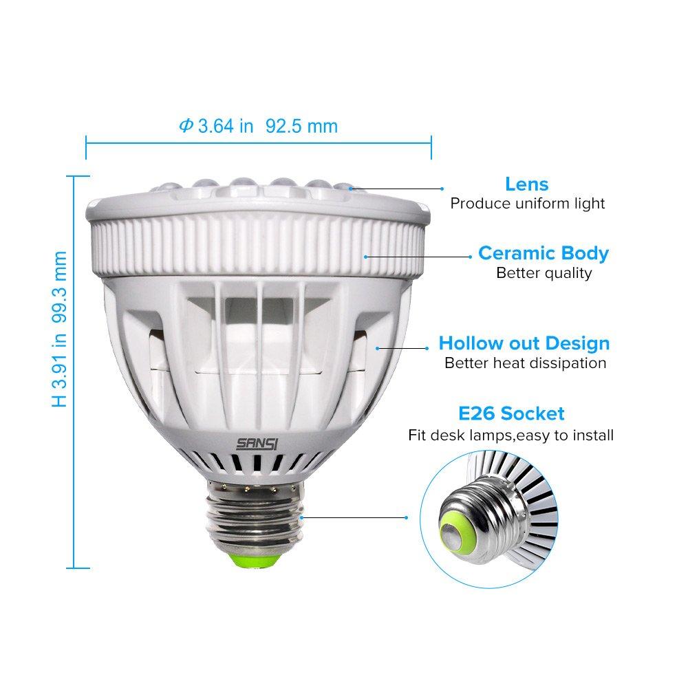 SANSI Flowering LED Grow Light Bulb, Ceramic Plant Light, HydroponiGrowing Light Bulbscs, Indoor Farming, Greenhouses (15w, E26 Socket, 16 LED Chips) by SANSI (Image #3)