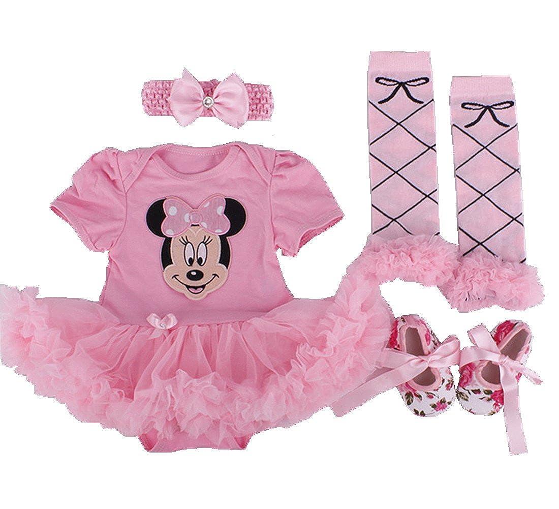 sallyshiny Neugeborene Baby Mädchen Strampler Kleid Minnie Outfit Body Tutu Rock Cartoon Kleidung 4-teiliges Set Kopfband Schuhe Beinwärmer