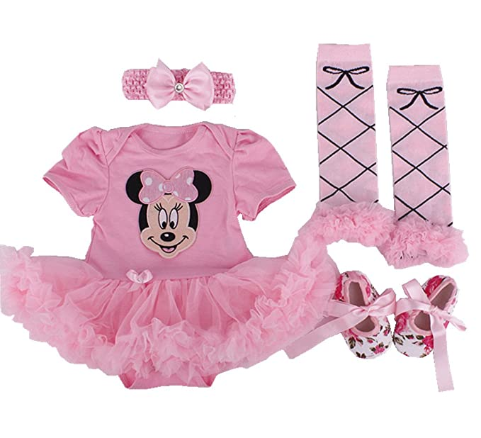 565e01c6c0519 Sallyshiny Newborn Baby Girl Romper Dress Minnie Outfit Bodysuit Tutu Skirt  Cartoon Clothes 4pcs/Set