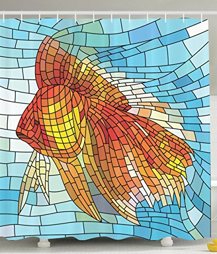 Stained Glass Mountains - Fish Shower Curtain Personalized Decor Abstract Design for Bathroom Orange Tropical Fish Style with Mosaic Art Pattern Stained Glass Window and Gold Fish Underwater Blue Ocean Decorations Print