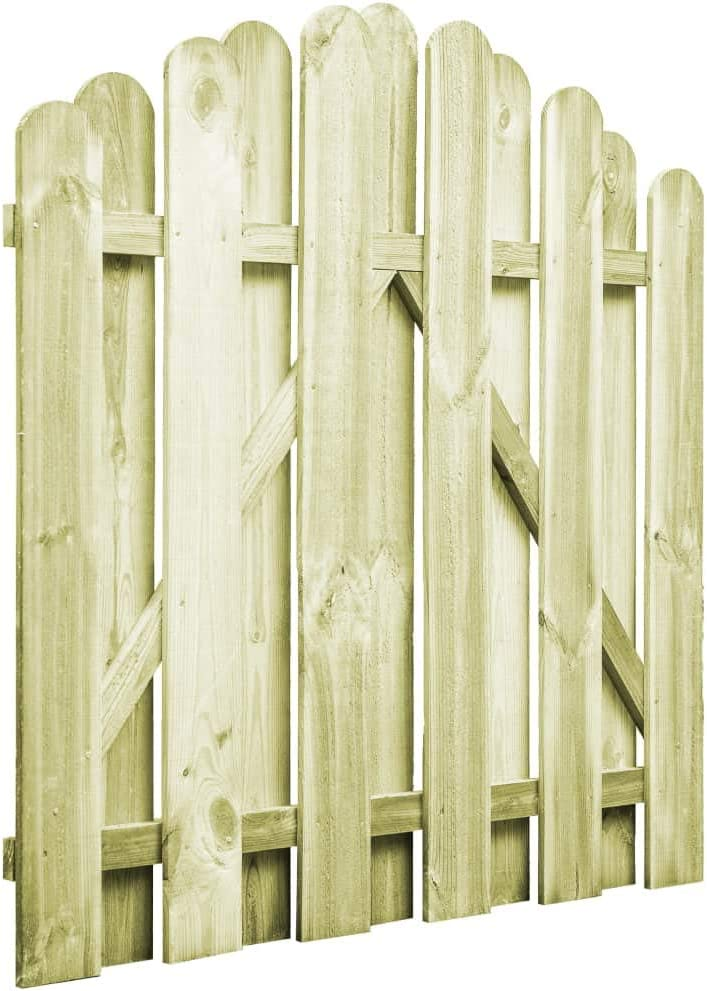 Tidyard Puerta de Madera para Jardín con Diseño Arqueado,Puerta para Valla Verja para Jardín o Patio,Resistente a la Intemperie y a la Putrefacción,Madera de Pino Impregnada FSC 100x100cm