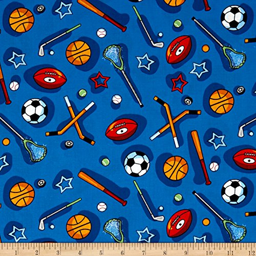 Santee Print Works Kid's Choice Sports Allover Blue Multi Fabric by The Yard,