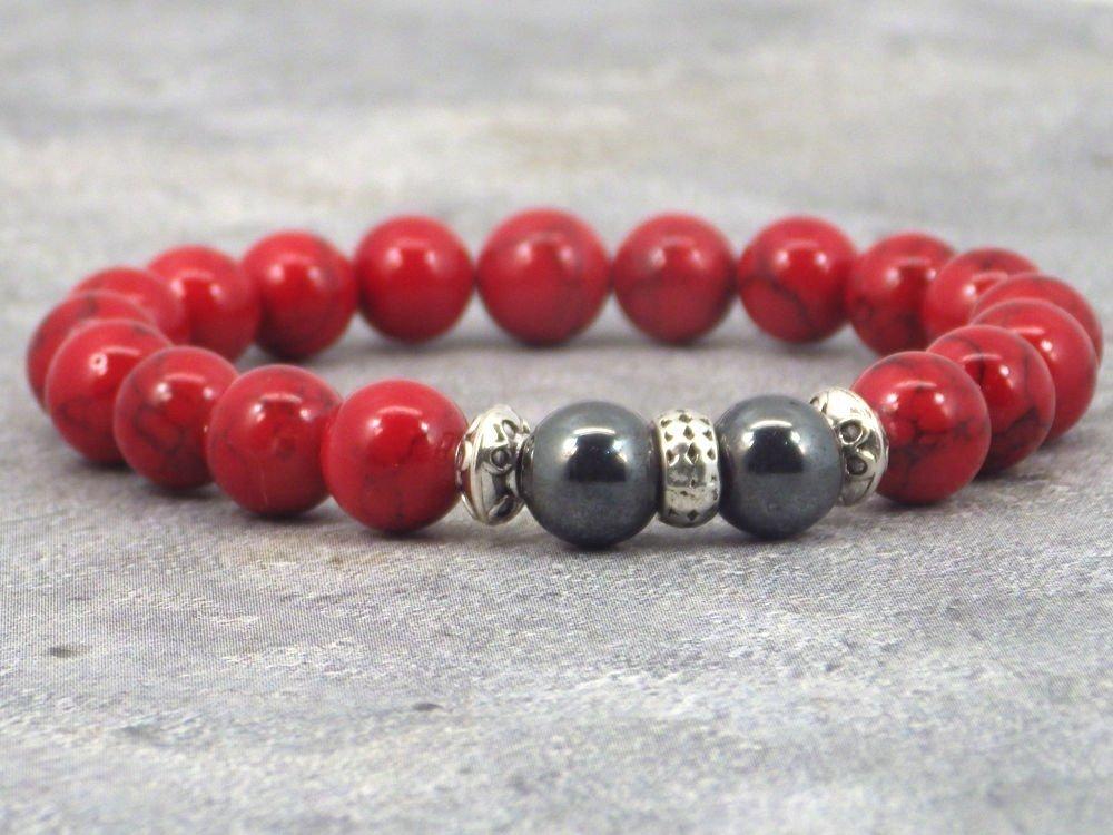 Miss Chichi Herren Armband in Rot T/ürkis Perlen und H/ämatit Perlen