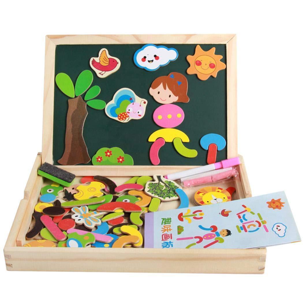 Gfone Hölzernes doppelseitiges magnetisches Gekritzel-Reißbrett-Spielzeug für Kinder Bodenspiele