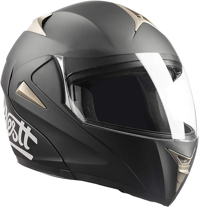 Westt Torque Z /· Casque Moto Modulable Int/égral Double Visi/ère pour Scooter Chopper /· Casque de Moto Homme et Femme en Noir Mat /· ECE Homologu/é