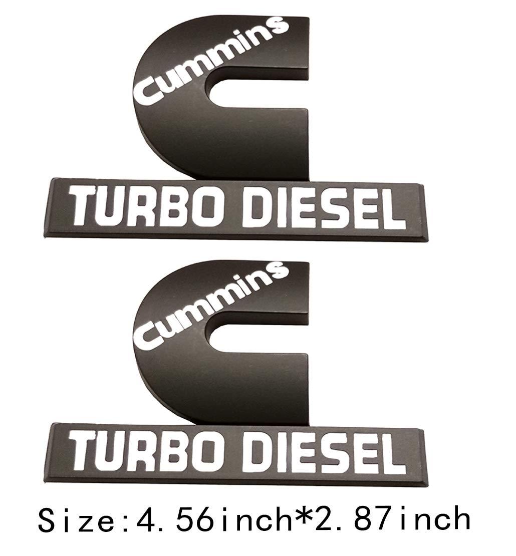 Cummins Turbo Diesel Emblem Badge High Output Replacement for RAM 2500 3500 Fender Emblem Black White Emzscar 2pcs small size