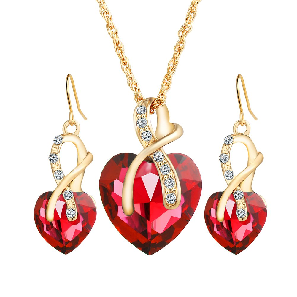 Emorias 1 Set Conjunto de Joyas Cristal Forma de Corazón Aleación Amor Verde Pendientes Collar Traje Boda Regalos Joyería Accesorios