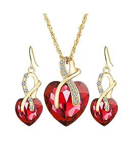 Beuya Mujer Conjunto Joyas Moda Colgantes de Cristal en Forma de corazón Collar Colgante y Pendientes Regalo para Conjunto de Joyas (Rojo)