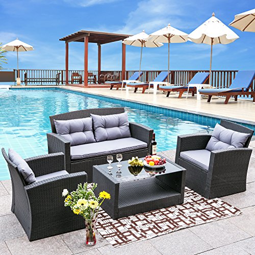 Merax 4 Pieces Outdoor Furniture Patio Cushion Wicker Rattan Garden Sofa Set Outdoor Rattan Wicker Loveseat and Chair Set,Black (Patio Black Furniture)
