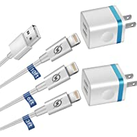 LOOGGO [5-Pack] Phone Charger, (10FT+6FT+3FT) Extra Long Fast Charging & Sync Cable with 2 X Dual Port USB Wall Charger Plug AdapterCompatible with iPhone Xs MaxXR X 8 7 6S 6 Plus SE 5SiPad