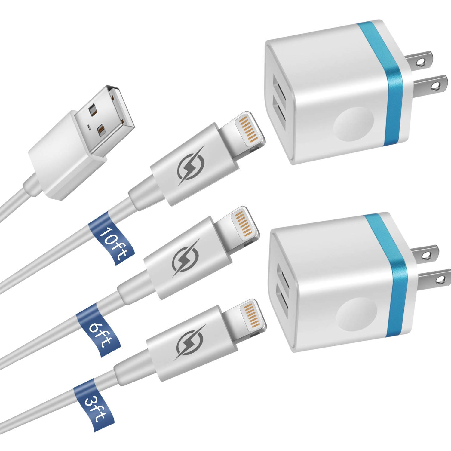 LOOGGO [5-Pack] Phone Charger, (10FT+6FT+3FT) Extra Long Fast Charging & Sync Cable with 2 X Dual Port USB Wall Charger Plug Adapter Compatible with iPhone Xs Max XR X 8 7 6S 6 Plus SE 5S iPad by LOOGGO