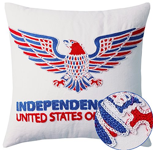 USA Independence Day Patriotic Decorations Bald Eagle Chain Embroidery Decorative Throw Pillow Cover Cushion Cover American Flag Hue Canvas Square 18×18 Inch, White