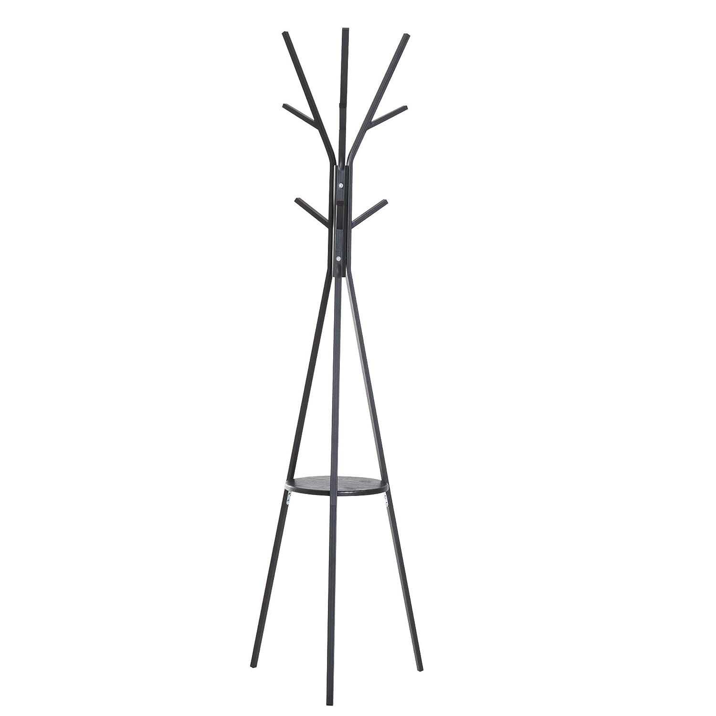 homcom Appendiabiti Attaccapanni da Terra Verticale Moderno per Ingresso Nero 45x45x180cm Aosom Italy