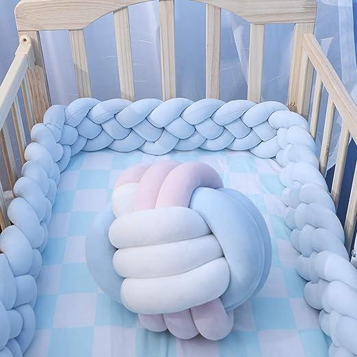 Cuna para bebé Parachoques Cojín nudo suave Cuna trenzada decorativa Parachoques Cama Dormir Parachoques