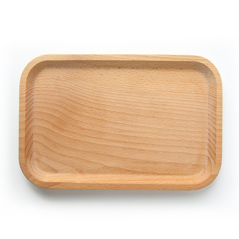 Yunhigh Wood Serving Trays,Beech Wood Serving Plate Rectangle Eco-Friendly Decorative Home Dinnerware Tableware for Snack Dessert, Set of 2