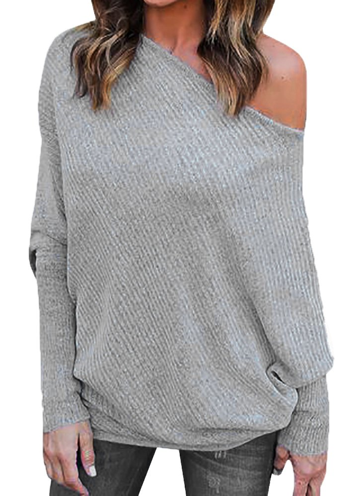 Imily Bela Women's Knitted One Shoulder Loose Pullovers Sweater