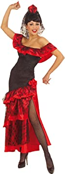 NET TOYS Disfraz de Bailarina española Vestido de Flamenco con Velo Traje de Mujer español Vestido de Ballet con Vela Mexicana Disfraz de Carnaval Sexy Andalouse Traje típico Mujeres: Amazon.es: Juguetes y
