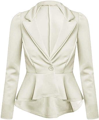 Women/'s Ladies Frill Front Zip Slim Fit Peplum Blazer Jacket Coat Plus Size 8-26