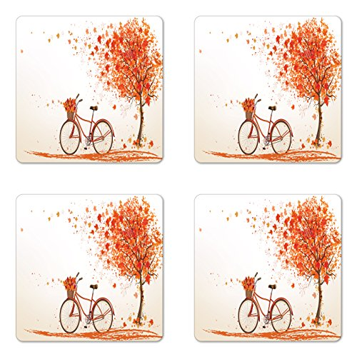 Ambesonne Bicycle Coaster Set of Four, Autumn Tree with Aged Old Bike and Fall Tree November Day Fall Season Park Nature Theme, Square Hardboard Gloss Coasters for Drinks, Orange