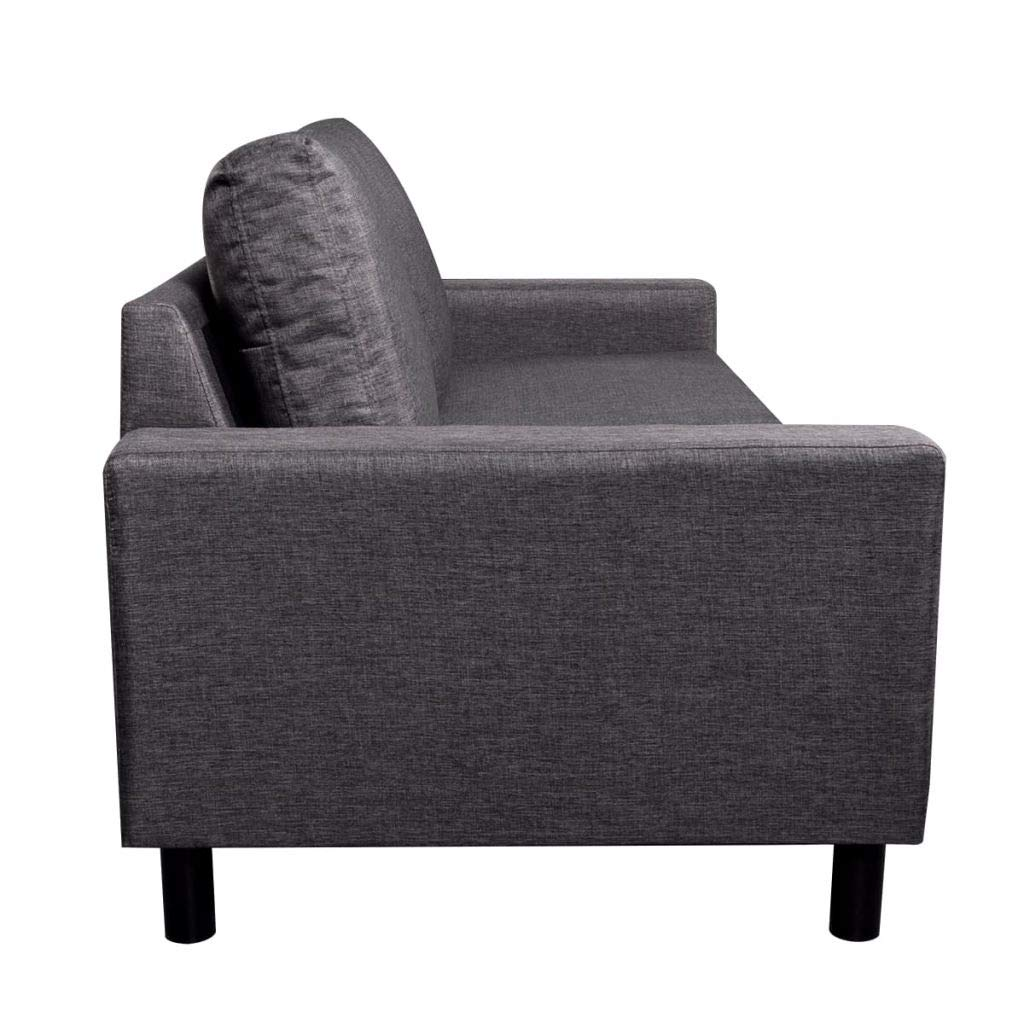 Sofa 3-Seater Fabric Dark Gray Home Office Furniture 79'' x 34'' x 32'' (W x D x H) by Drewcaroline (Image #4)