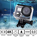 Meita 4K Ultra Slim HD Sport Camera Waterproof Wifi & HDMI 2.4G Remote Control Action Camera Kit DV Camcorder 2 Inch LCD Screen 16MP 170 Degree Wide Angle for out/indoor Sport Action Camera