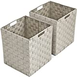 Sorbus Foldable Storage Cube Woven Basket Bin Set - Built-In Carry Handles - Great for Home Organization, Nursery, Playroom, Closet, Dorm, etc (Woven Basket Bin Cubes - 2 Pack, Beige)