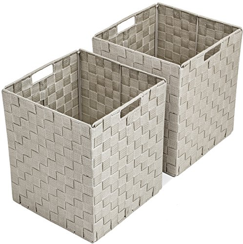 Sorbus Foldable Storage Cube Woven Basket Bin Set - Built-In Carry Handles - Great for Home Organization, Nursery, Playroom, Closet, Dorm, etc (Woven Basket Bin Cubes - 2 Pack, Beige) by Sorbus