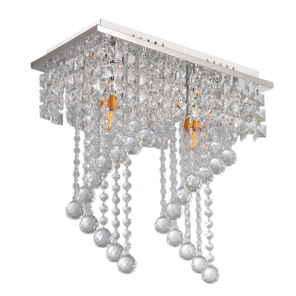 Sonmer Modern Crystal Ceiling Lamp, E12 Base,110V,LED Modern Light Home Decor