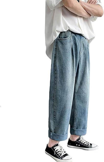 JQBFLデニムパンツ メンズ ジーンズ ゆったり ワイドパンツ デニム カジュアル ロングパンツ 無地 おしゃれ ジーパン ストレート ウェストゴム ズボン オールシーズン